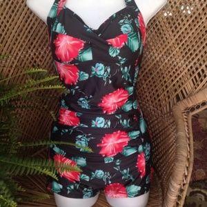 Other - One piece retro swim suit with boy legs
